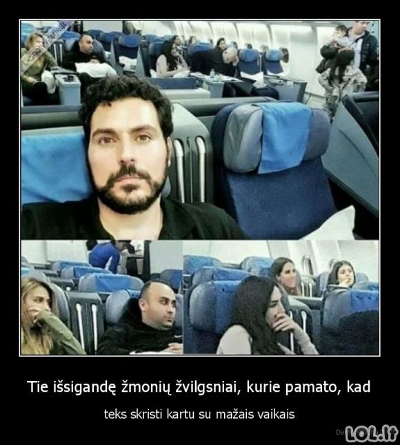 Išsigandę žvilgsniai lėktuve