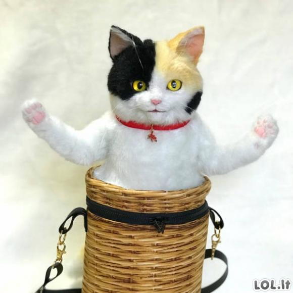 Naujausia mada iš Japonijos - katės formos kuprinės