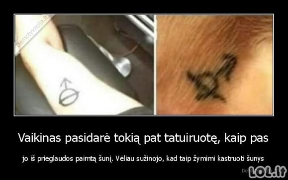 Vaikinas pasidarė tokią pat tatuiruotę, kaip pas jo iš prieglaudos paimtą šunį. Vėliau sužinojo, kad taip žymimi kastruoti šunys
