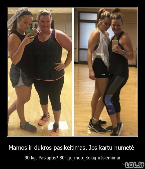 Mamos ir dukros pasikeitimas. Jos kartu numetė - 90 kg. Paslaptis? 80-ųjų metų šokių užsiėmimai
