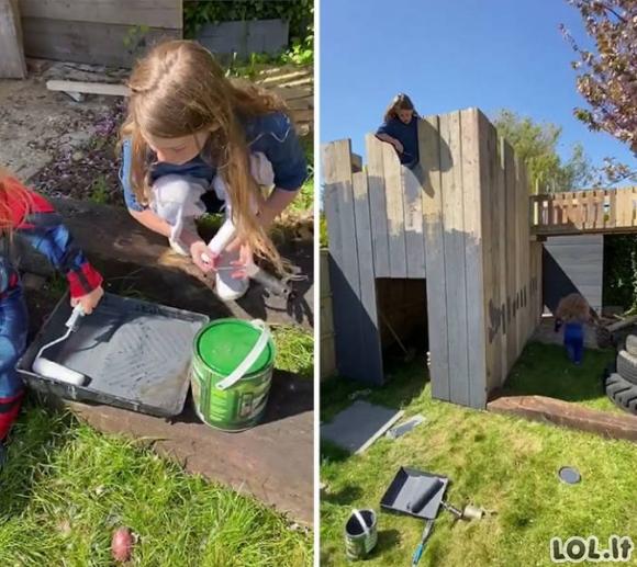 Tėtis pastatė šaunią žaidimų aikštelę savo vaikams [GALERIJA]
