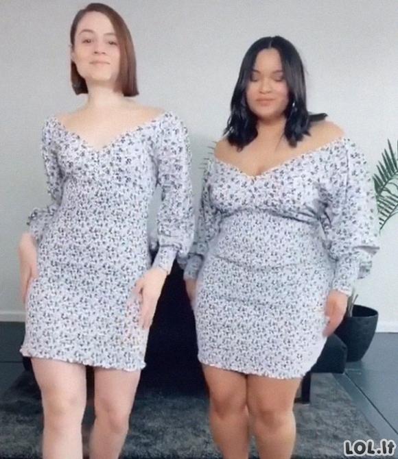 Dvi skirtingų figūrų draugės vilki tuos pačius drabužius