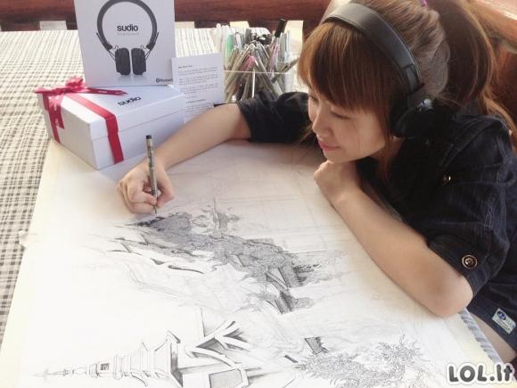 Ši japonė - viena kruopščiausių dailininkių pasaulyje [GALERIJA]