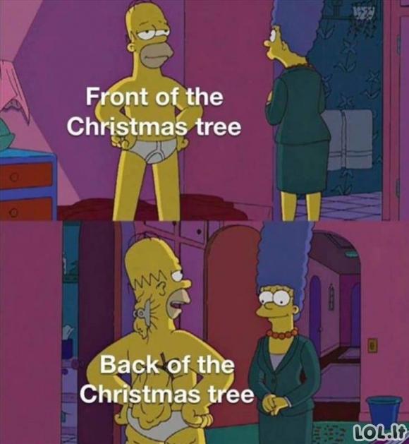 Kalėdų eglutės priekis ir nugara