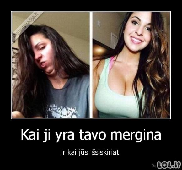 Mergina prieš ir po
