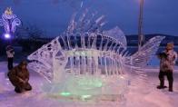 Magiškai gražios ledo skulptūros