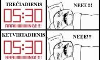 Miegas savaitgalio rytais