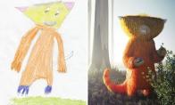 Vaikų piešiniai, perpiešti profesionalų