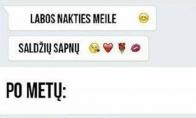 SMS santykių pradžioje ir vėliau