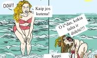 Merginos prie jūros