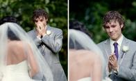 Neįkainojamos reakcijos, kai jaunieji pamato vienas kitą pirmą kartą per vestuvių dieną (20 nuotraukų)