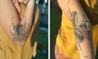 Dvigubos tatuiruotės, kurios pilnai pasirodo ištiesus rankas ar kojas [GALERIJA]