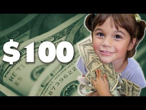 Vaikai gauna 100 dolerių ir turi juos išleisti per valandą