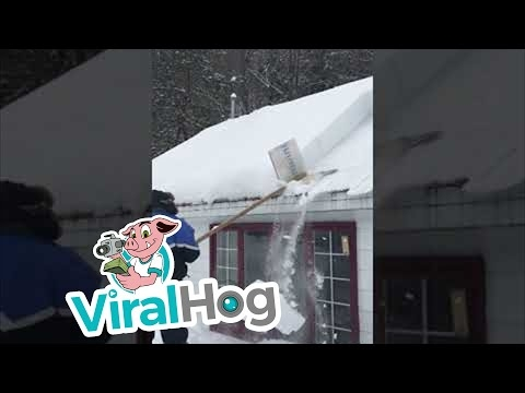 Gudrus sniego nuėmimas nuo stogo