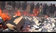Sirija sukilėliai sunaikinti ir sudeginti cigaretes