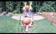 Fantastiškas krepšinio triukas ant batuto