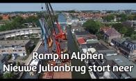 Olandijoje ant namų užvirsta du kranai