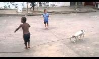 Šunelis padeda vaikams žaisti