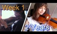 Smuikininkės progresas per dvejus metus