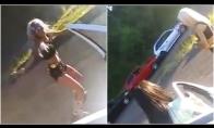 Šokinėjanti mergina sukelia avariją