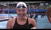 Plaukikės reakcija į žinią, kad ji laimėjo bronzą