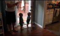 Broliukai dvynukai žaidžia su durimis
