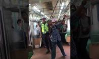 Drąsus keleivis iš traukinio pašalina gyvatę