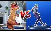 Fortnite šokio iššūkis persirengus dinozauru