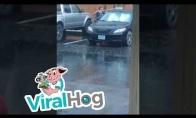 Žmogus plauna automobilį per lietų