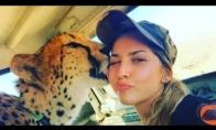 Mergina, gyvenanti su gepardais