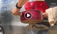Karšto vandens panaudojimas išlyginant mašinos įlenkimus