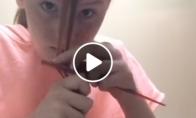 Mergaitė sugalvojo apsikirpti pati
