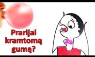 Kas nutiks, jei prarysite kramtomąją gumą?